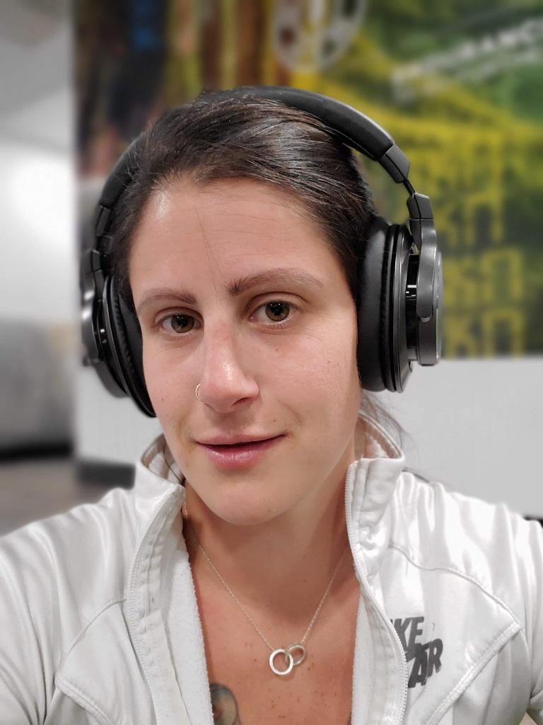 How the headphones look on me