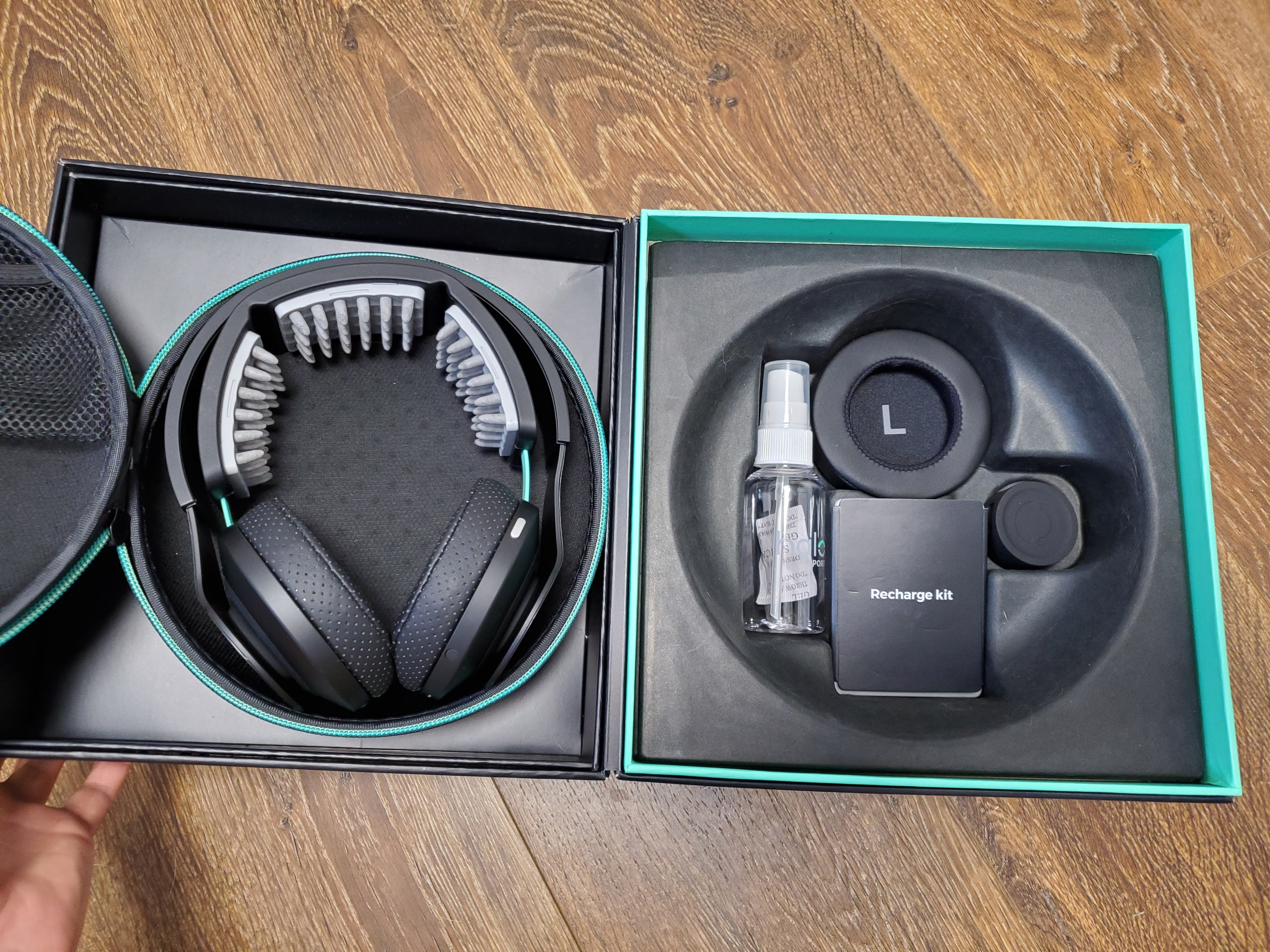 Halo sport headphones, case, spray bottle, recharge kit and accessories
