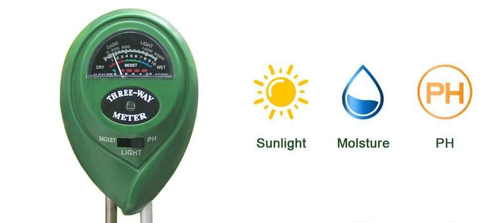 three-way soil tester - sunlight, moisture and PH