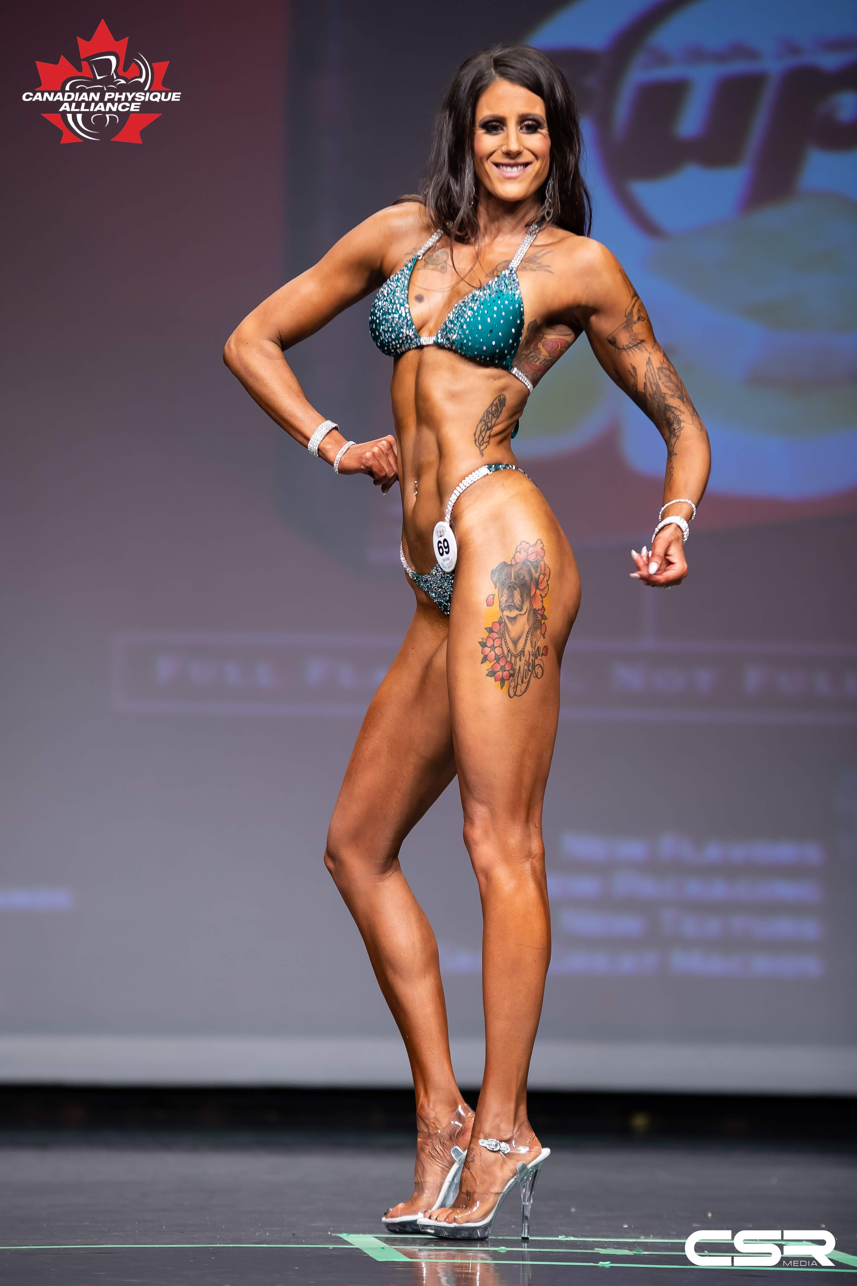 Stage shot from my first bodybuilding competition where I competed in he bikini division